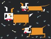 Psi a kosti — Stock vektor