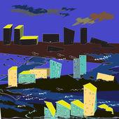 City flood — Stock Vector