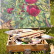 Open air summer painting — Stock Photo