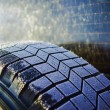 Crystals of ice on tire — Stock Photo