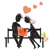Couple reading a book — Stock Vector