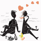 Couple on picnic — Stockvektor