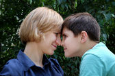Mother and grown-up son — Stock Photo