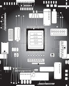 Circuit board in black and white — Stock Vector