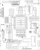 Circuit board in black and white — ストックベクタ