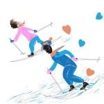 Couple skiing — Stock Vector