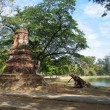 Stock Photo: Pagoda in Phraram Lake in Ayutthaya, Thailand