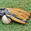 Baseball ball and Glove on grass — Stock Photo
