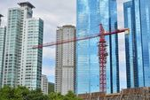 Red Tower Crane in construction site — Stock Photo