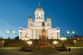 Senate square and Helsinki Cathedral in Helsinki — Stock Photo