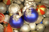 Mix of white, blue and golden red Christmas balls — Stock Photo