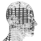 3D head in profile isolated on black background. — Stock Photo