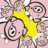 Funny fat pigs with the sun isolate in white. — Stock Photo