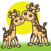 Baby giraffe and mom isolated in white background. — Foto Stock