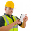 Construction Worker Contractor Using Tablet Computer — Stock Photo