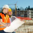 Two construction worker at construction site  — Stock Photo