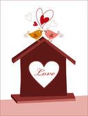 Domov pro ptáky lásky — Stock vektor