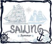 Nautical sea card — Stock Vector