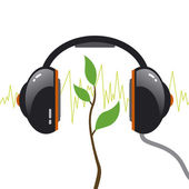 Tree with headphone. Music concept. — Stock Vector