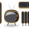 Stock Vector: Retro TV and loudspeaker on white background