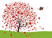 Bird and heart tree design of love — Stock Vector