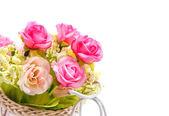 Falsas flores sobre fundo branco — Fotografia Stock