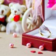 Stock Photo: Diamond ring for wedding background