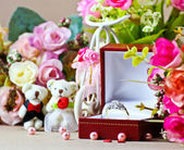 Diamond ring for wedding background — Stock Photo