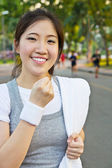 Happy woman showing a fist — Stock Photo