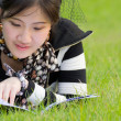 Royalty-Free Stock Photo: Woman reading book on the grass