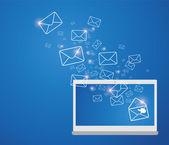 Senden von e-mails — Stockvektor