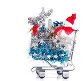 тележка рождественских покупок — Стоковое фото