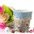Mosaic flower pot — Stock Photo
