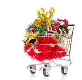 圣诞购物车 — 图库照片