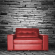 Red sofa in the room — Stock Photo