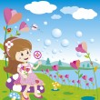 Girl blowing bubbles in the flowers garden — Stock Vector
