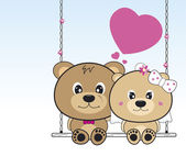 Wedding bears sitting on a swing — Stock Vector