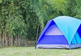 Blauwe tent op de berg — Stockfoto