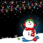 Snowman design for christmas background — Stock Vector
