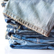 Blue jeans on white background — Stock Photo #37947599