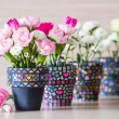 Carnation in mosaic flower pot — Stock Photo #38181729