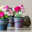 Carnation in mosaic flower pot — Stock Photo #38237519