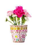 Carnation in mosaic flower pot — Stock Photo