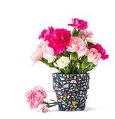 Carnation in mosaic flower pot — Foto de Stock