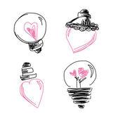 Hjärtat lamp lampa på vit bakgrund — Stockvektor