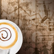 Coffee cup and saucer on wood background. Business concepts. — Stock Photo