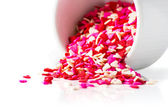 Icing sugar. Shape of hearts. — Stok fotoğraf
