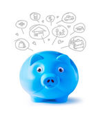 Blue piggy bank and icons design to represent the concept of saving money — Stock Photo