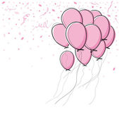 Vector pink balloon on white background — Stock Vector