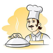 Cheerful Chef Cook, vector cartoon illustration — Stock Vector